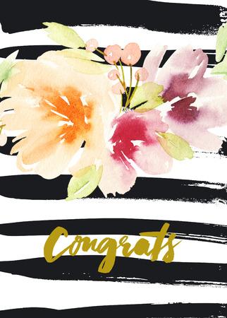 Grußkarte mit Blumen. Pastellfarben. Handmade. Aquarellmalerei. Glückwunsch.