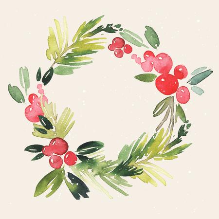 winter garden: Christmas wreath watercolor. Handmade. Holiday card.