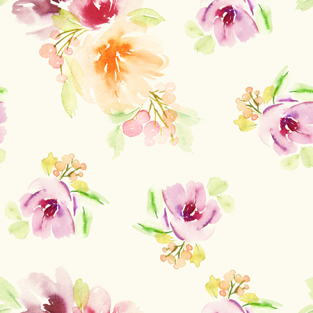 light painting: Seamless floral pattern. Watercolor painting. Pastel colors.