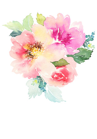 flor morada: Tarjeta de la acuarela con las flores. Hecho a mano. Foto de archivo
