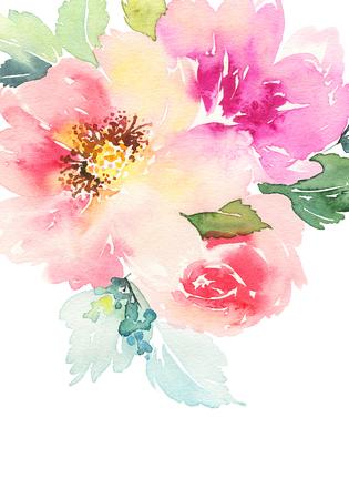 Aquarel kaart met bloemen. Handgemaakt.