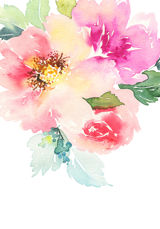 a brush: Watercolor card with flowers. Handmade.