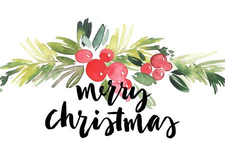 christmas plant: Christmas wreath watercolor. Handmade. Holiday card.