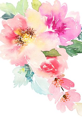 꽃 수채화 카드. 수공.