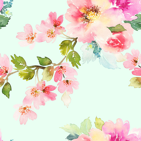 Seamless pattern with flowers watercolor. Gentle colors. Female pattern. Handmade. Stok Fotoğraf - 47903355