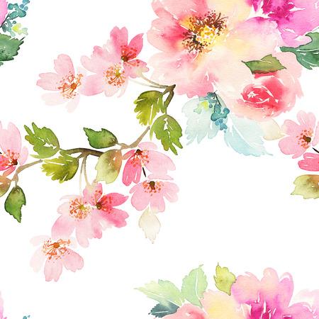 dibujos de flores: Patrón sin fisuras con flores de la acuarela. Colores suaves. Patrón femenino. Hecho a mano.