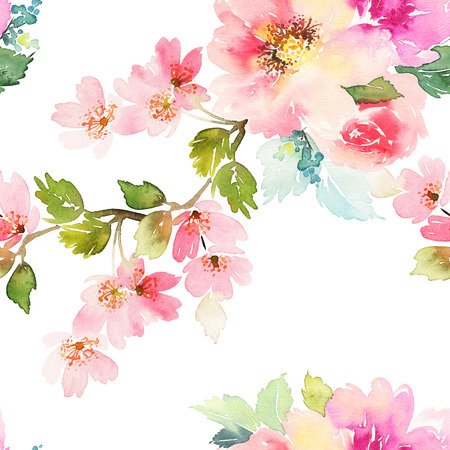 hand drawn: Seamless pattern with flowers watercolor. Gentle colors. Female pattern. Handmade. Stock Photo