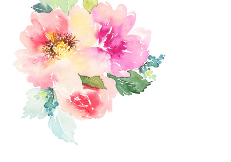 rose bouquet: Watercolor card with flowers. Handmade.