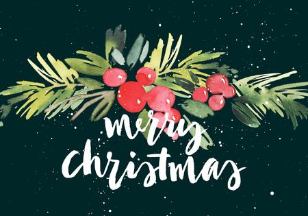 to present: Christmas wreath watercolor. Handmade. Holiday card.