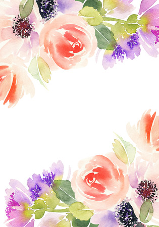 Watercolor card with flowers. Stock Photo