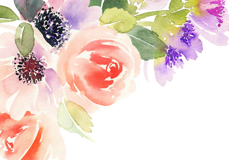 Watercolor card with flowers. Archivio Fotografico