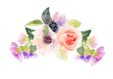 vintage floral frame: Watercolor card with flowers. Stock Photo