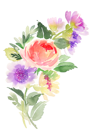Watercolor card with flowers. Stock fotó