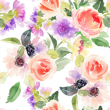 꽃 수채화와 원활한 패턴입니다. 스톡 콘텐츠