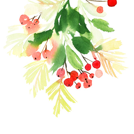 Christmas wreath watercolor.