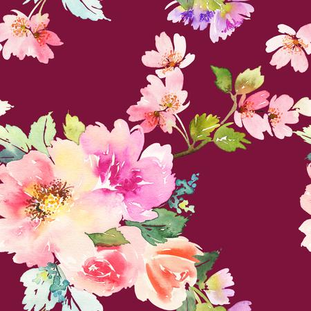花の水彩画とのシームレスなパターン。