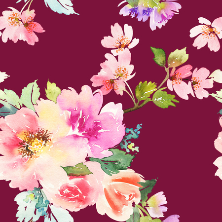 pastel drawing: Seamless pattern with flowers watercolor.