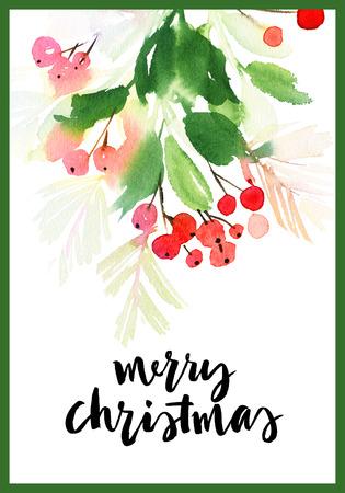 Christmas wreath watercolor.