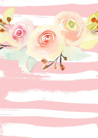 Grußkarte mit Blumen. Pastellfarben. Handmade. Aquarellmalerei. Hochzeit, Geburtstag, Muttertag. Brautdusche.