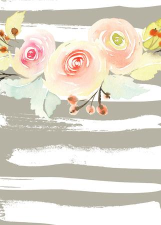 fondo: Tarjeta de felicitaci�n con flores. Foto de archivo