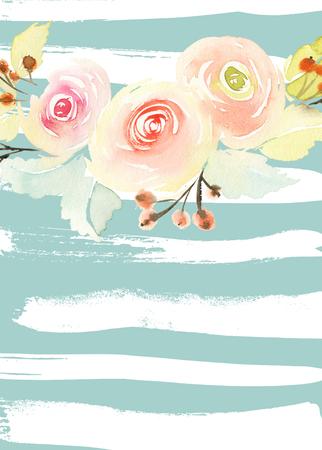 bouquet de fleur: Carte de voeux avec des fleurs.