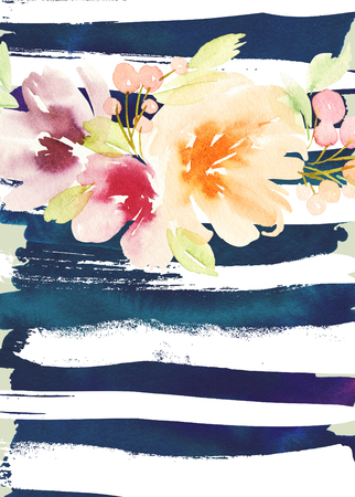 watercolor paper: Greeting card with flowers. Stock Photo