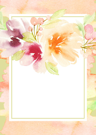 summer day: Greeting card with flowers. Stock Photo
