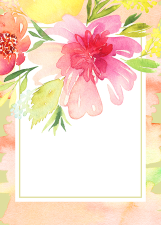 wedding day: Greeting card with flowers. Stock Photo