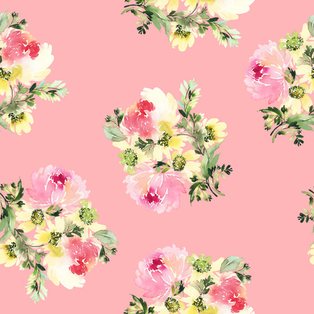 watercolour background: Seamless pattern with flowers watercolor.