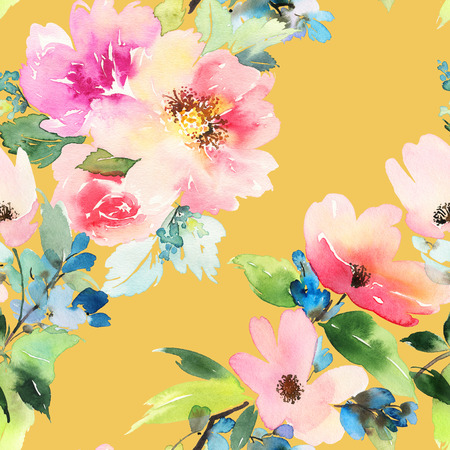 patrones de flores: Patrón sin fisuras con flores de la acuarela. Colores suaves. Patrón femenino. Hecho a mano.