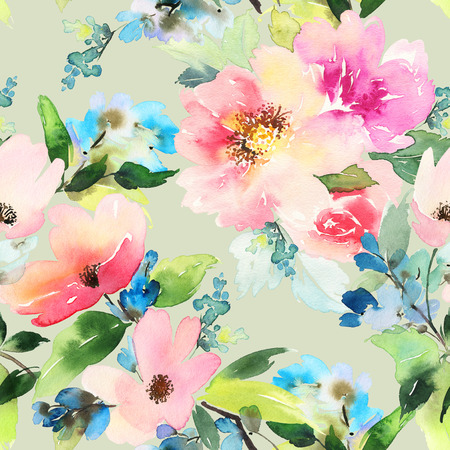 textile fabrics: Seamless pattern with flowers watercolor. Gentle colors. Female pattern. Handmade. Stock Photo