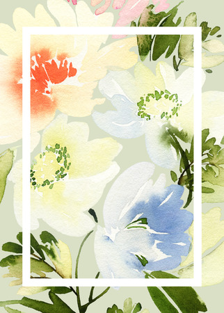 summer day: Greeting card with flowers. Pastel colors. Handmade. Watercolor painting. Wedding, birthday, Mothers Day. Bridal shower. Stock Photo