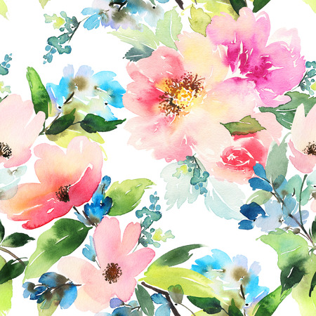 nature beauty: Seamless pattern with flowers watercolor. Gentle colors. Female pattern. Handmade. Stock Photo