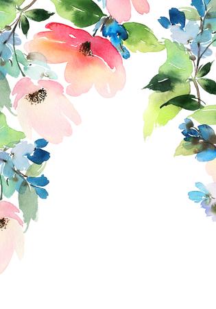 Wenskaart met bloemen. Pastelkleuren. Handgemaakt. Aquarel schilderij. Bruiloft, verjaardag, Moederdag. Bruids douche. Stockfoto - 49268125