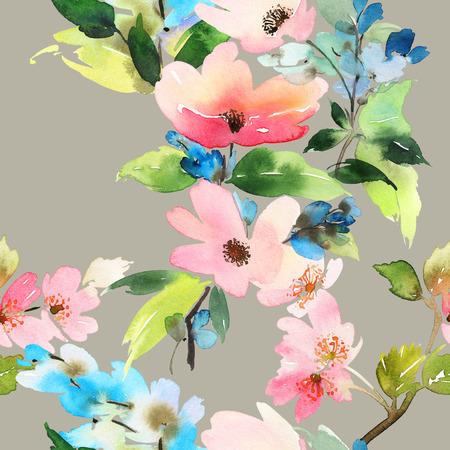 textil: Patr�n sin fisuras con flores de la acuarela. Colores suaves. Patr�n femenino. Hecho a mano.