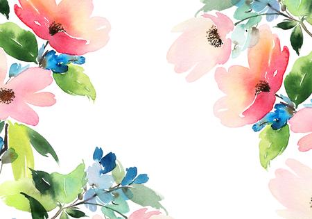 Carte de voeux avec des fleurs. Les couleurs pastel. Fait main. Aquarelle. Mariage, anniversaire, fête des mères. Douche nuptiale. Banque d'images - 49268156