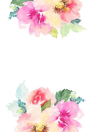 Carte de voeux avec des fleurs. Les couleurs pastel. Fait main. Aquarelle. Mariage, anniversaire, fête des mères. Douche nuptiale.