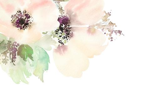 Çiçeklerle tebrik kartı. Pastel renkler. El yapımı. Suluboya resim. Düğün, doğum günü, Anneler Günü. Gelin duş.
