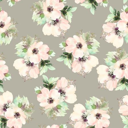 dessin fleurs: Seamless pattern avec des fleurs à l'aquarelle. Des couleurs douces. Femme modèle. Handmade. Banque d'images