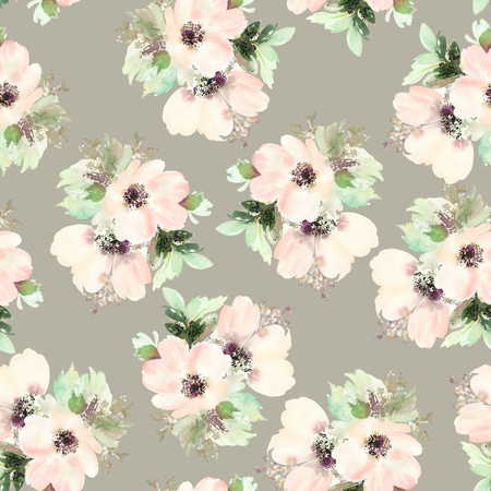 background flower: Seamless pattern with flowers watercolor. Gentle colors. Female pattern. Handmade. Stock Photo