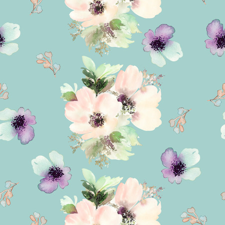 Seamless pattern with flowers watercolor. Gentle colors. Female pattern. Handmade. Archivio Fotografico