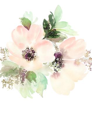 florale: Grußkarte mit Blumen. Pastellfarben. Handmade. Wasserfarbe auf Papier. Hochzeit, Geburtstag, Muttertag. Brautdusche.