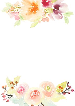 matrimonio feliz: Tarjeta de felicitación con flores. Colores pastel. Hecho a mano. Pintura de la acuarela. Boda, cumpleaños, Día de la Madre. Despedida de soltera.