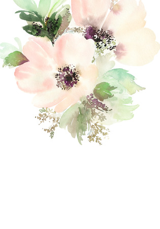 flower designs: Greeting card with flowers. Pastel colors. Handmade. Watercolor painting. Wedding, birthday, Mothers Day. Bridal shower. Stock Photo