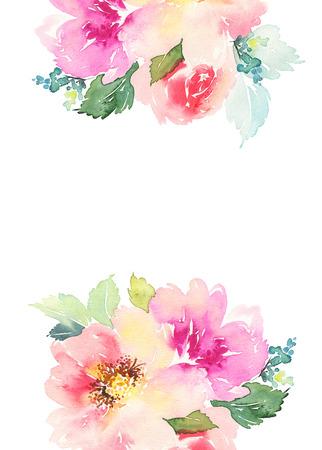 Wenskaart met bloemen. Pastelkleuren. Handgemaakt. Aquarel schilderij. Bruiloft, verjaardag, Moederdag. Bruids douche. Stockfoto