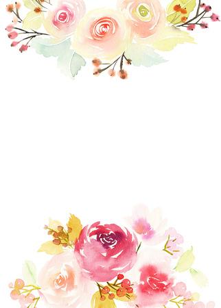 fondo elegante: Tarjeta de felicitaci�n con flores. Colores pastel. Hecho a mano. Pintura de la acuarela. Boda, cumplea�os, D�a de la Madre. Despedida de soltera.