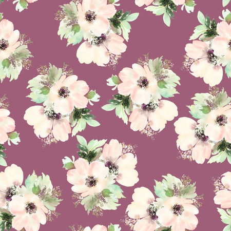 flowers on white: Seamless pattern with flowers watercolor. Gentle colors. Female pattern. Handmade. Stock Photo