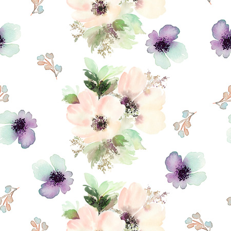 pastel flowers: Seamless pattern with flowers watercolor. Gentle colors. Female pattern. Handmade. Stock Photo