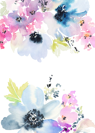 Greeting card with flowers. Pastel colors. Handmade. Watercolor painting.Wedding, birthday, Mother's Day. Bridal shower. Standard-Bild
