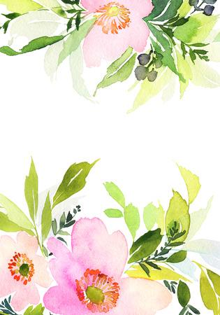 Grußkarte mit Blumen. Pastellfarben. Handmade. Wasserfarbe auf Papier. Hochzeit, Geburtstag, Muttertag. Brautdusche. Standard-Bild